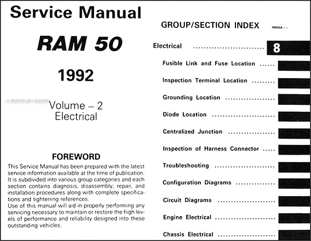 1992DodgeRam50ORM TOC2 1992 dodge ram 50 truck repair shop manual original 2 volume set 1992 dodge ram wiring diagram at gsmx.co