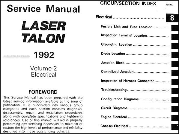 1992EagleTalonORM TOC2 1992 plymouth laser eagle talon repair shop manual original 2 volume set