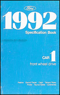1992 Ford Lincoln Mercury FWD Car Service Specifications Book Original