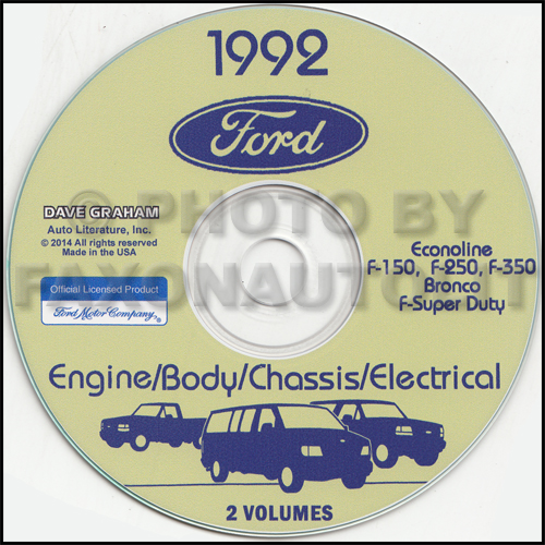 1992 ford truck cd repair shop manual 92 f100 350 pickup bronco and van rh faxonautoliterature com 2013 Ford F350 Owner's Manual Ford Truck Wiring Diagrams