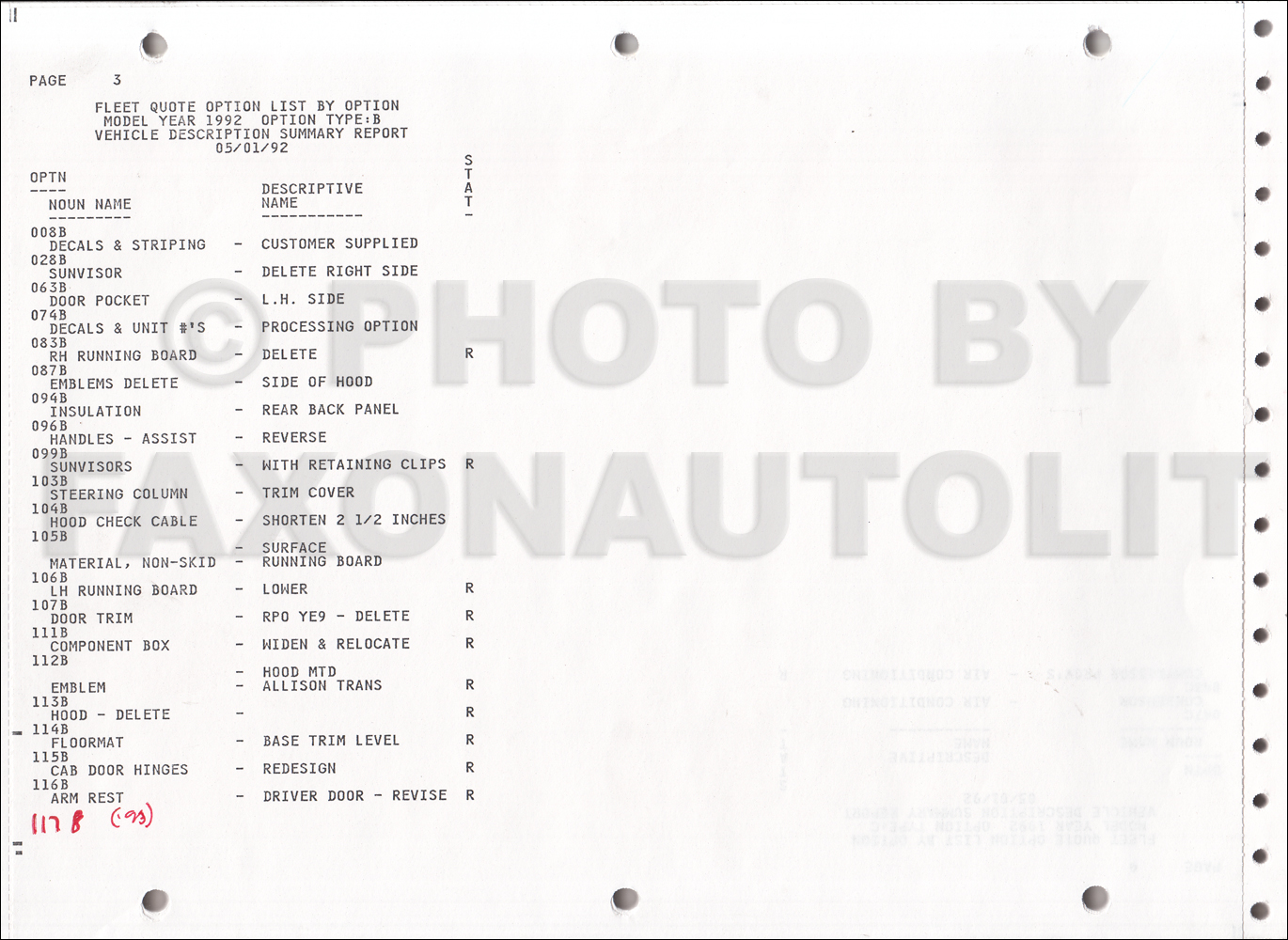 1992 GMC Fleet Option Code List Original