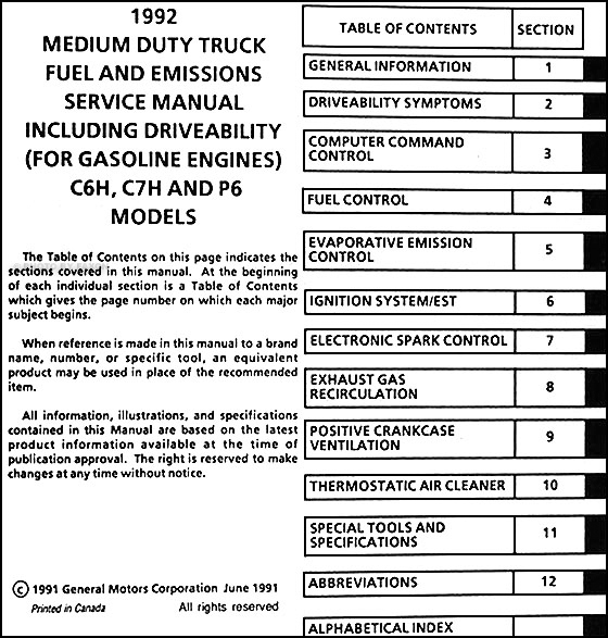 1992 GMC Topkick Chevy Kodiak P6 Gas Fuel and Emissions Service Manual