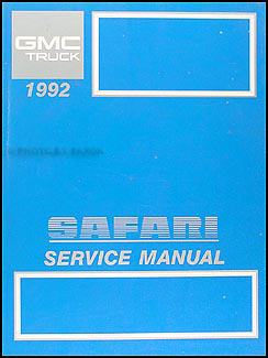 1992 GMC Safari Van Shop Manual Original