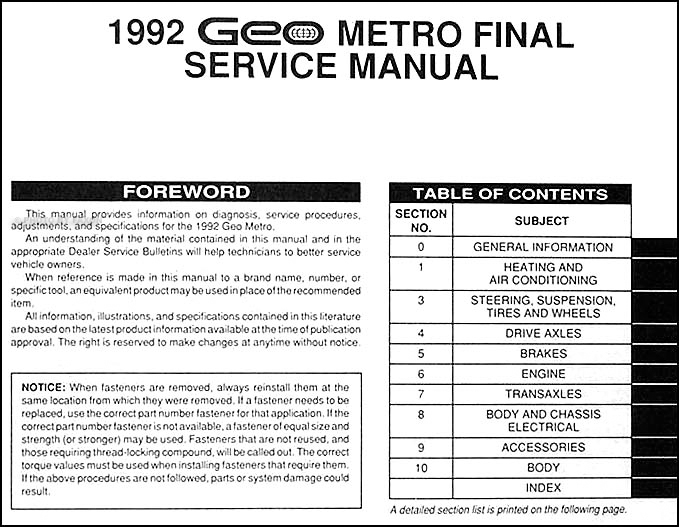 1992GeoMetroORM TOC 1992 geo metro repair shop manual original geo metro fuse box diagram at n-0.co