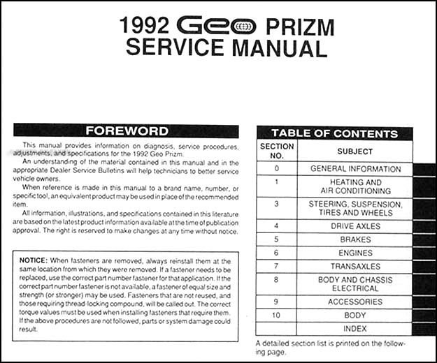 1992GeoPrizmORM TOC 1992 geo prizm repair shop manual original 1997 geo prizm wiring diagram at soozxer.org