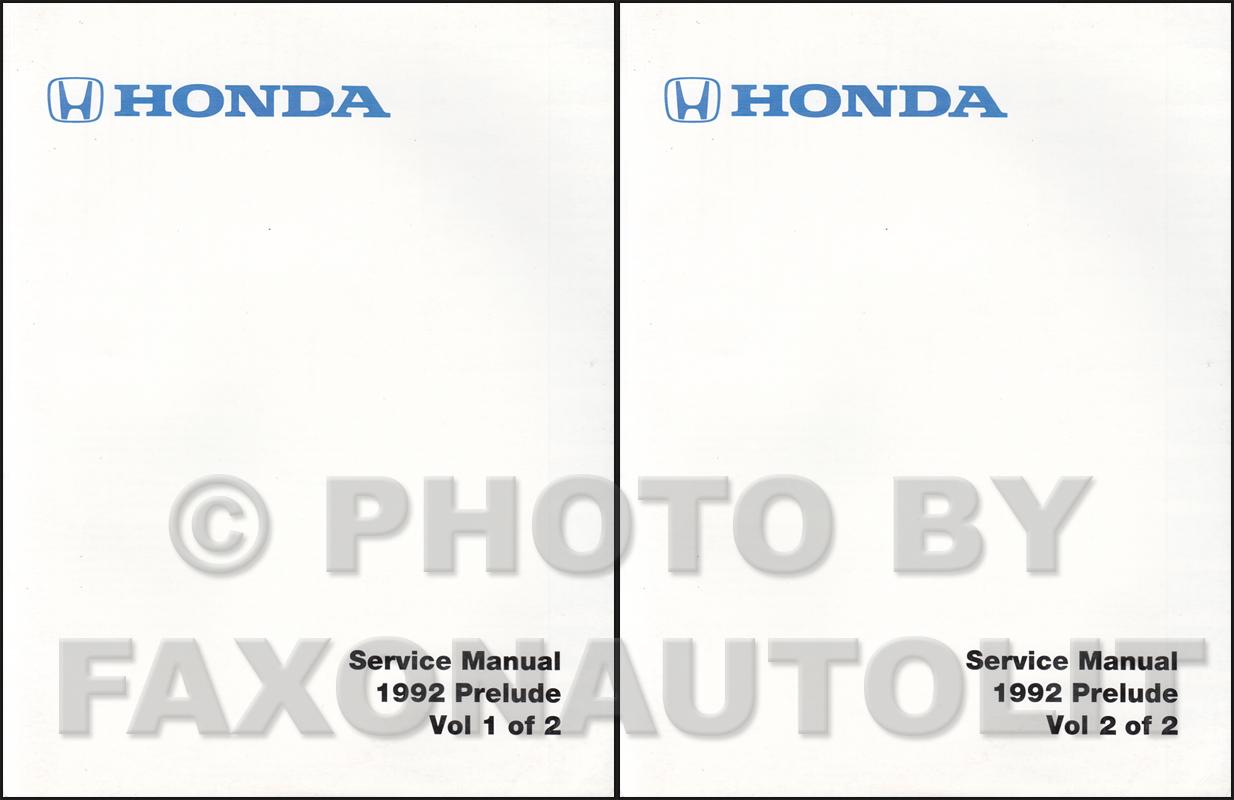 1992 honda prelude repair shop manual factory reprint rh faxonautoliterature com Honda HR214 Service Manual Honda Motorcycle Service Manual PDF