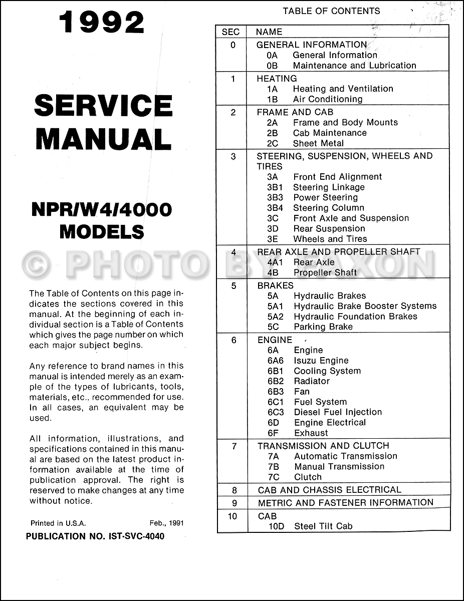 1992 npr and w4 repair shop manual original isuzu chevy gmc table of contents