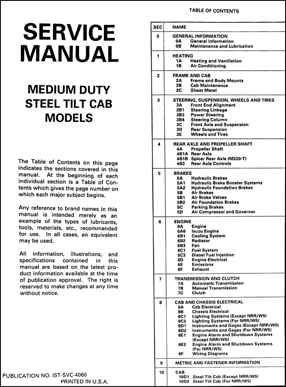 1992IsuzuNRRW7ORM TOC 1992 nrr, fsr, ftr, fvr, evr, w5, w6, w7 repair shop manual original isuzu npr wiring diagram free download at gsmx.co