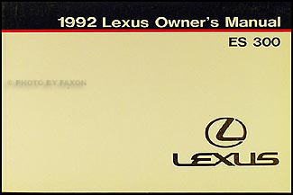1992 lexus es 300 owners manual original. Black Bedroom Furniture Sets. Home Design Ideas