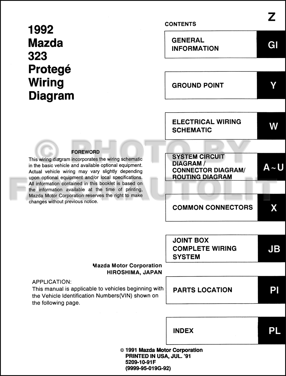 1998 mazda protege wiring diagram 1992 mazda 323 and protege wiring diagram manual original