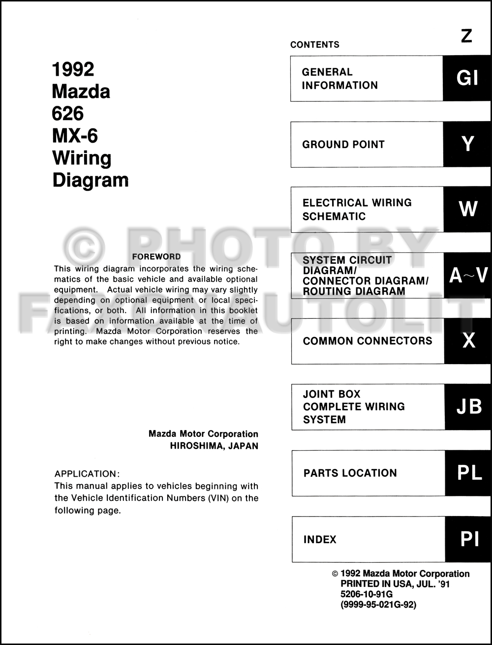 1992 Mazda 626 and MX-6 Wiring Diagram Manual Original