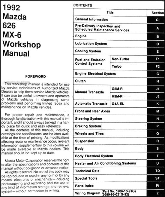 1992 mazda 626 mx 6 repair shop manual original rh faxonautoliterature com 1990 Mazda 626 1994 Mazda 626