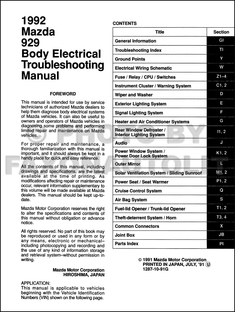 1992 mazda 929 body electrical troubleshooting manual original mazda 929 wiring diagram mazda xedos wiring diagram #11