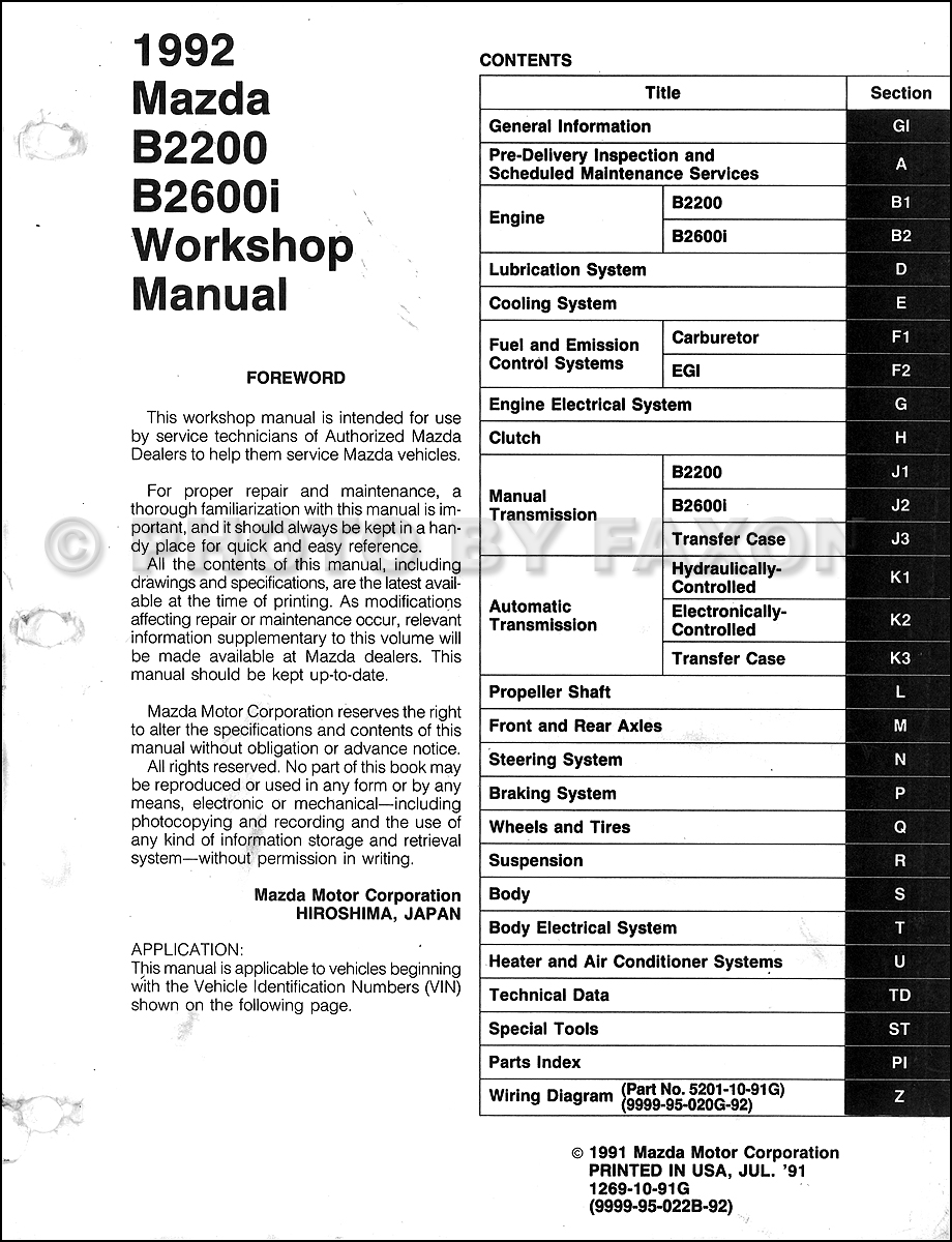 1992 Mazda Pickup Truck Repair Shop Manual Original B2200