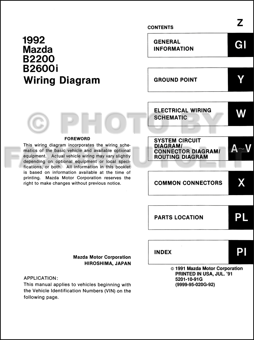 1992 mazda b2200 b2600i pickup truck wiring diagram manual. Black Bedroom Furniture Sets. Home Design Ideas