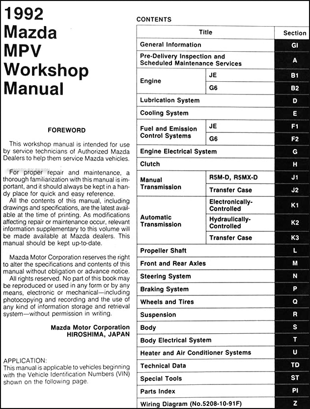 1992 mazda mpv repair shop manual original rh faxonautoliterature com 2005 mazda 6 workshop manual 2005 mazda 6 shop manual