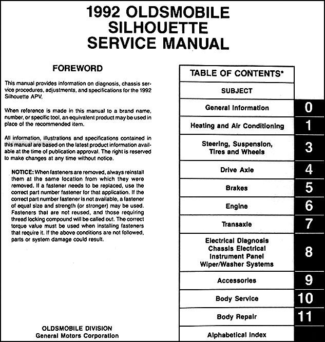 1992 oldsmobile silhouette van repair shop manual original rh faxonautoliterature com 1990 Oldsmobile Silhouette 1998 Oldsmobile Silhouette