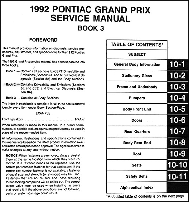 1992PontiacGranPrixORM TOC3 1992 pontiac grand prix repair shop manual original 3 volume set 1994 pontiac grand prix wiring diagram at crackthecode.co