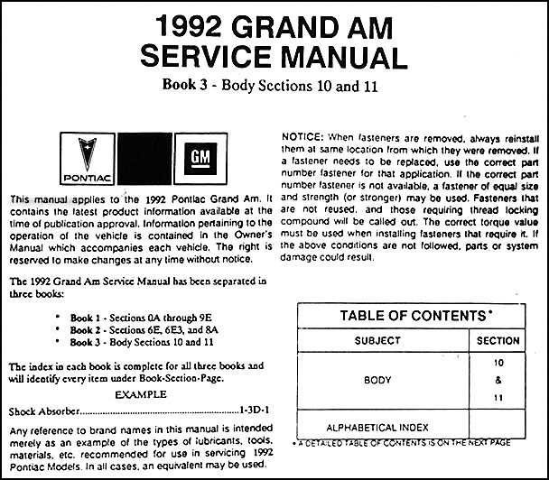 1992PontiacGrandAMORM TOC3 1992 pontiac grand am repair shop manual original 3 volume set wiring diagram 1992 grand am at eliteediting.co