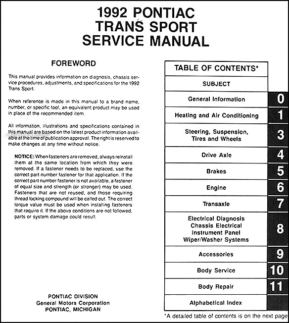 1992PontiacTransportORM TOC 1992 pontiac trans sport van repair shop manual original 1992 pontiac trans sport radio wiring diagram at soozxer.org