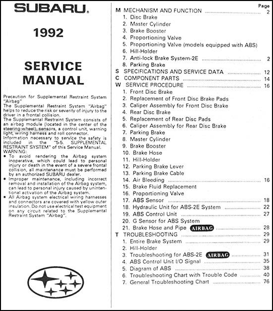 1992 subaru legacy abs 2e brakes repair shop manual. Black Bedroom Furniture Sets. Home Design Ideas