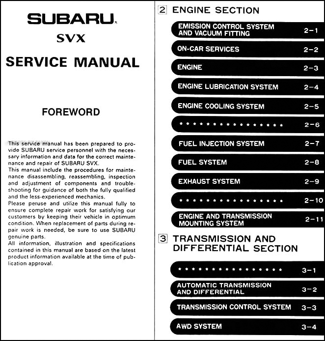1992 Subaru Svx Repair Shop Manual Original 6 Sections  4