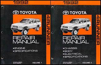 1992 toyota 4runner wiring diagram manual original 1992 toyota 4runner repair shop manual set original 119 00