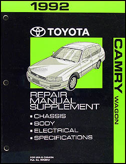 1992 toyota camry wagon repair shop manual original supplement rh faxonautoliterature com 1994 Toyota Camry Repair Manual 1992 Toyota Camry Manual PDF