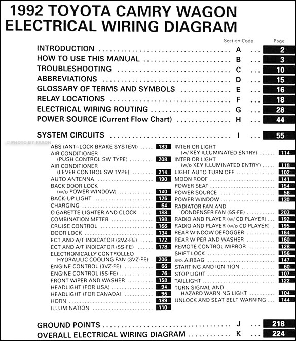 1992 toyota camry wagon wiring diagram manual original rh faxonautoliterature com Chinese Motor Scooter Wiring Diagram 150Cc Scooter Wiring Diagram