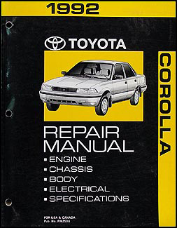 1992ToyotaCorollaORM 1992 toyota corolla repair shop manual original 1992 toyota corolla wiring diagram at readyjetset.co
