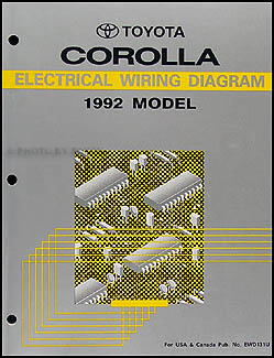 1992 Toyota Corolla Wiring Diagram Manual Original
