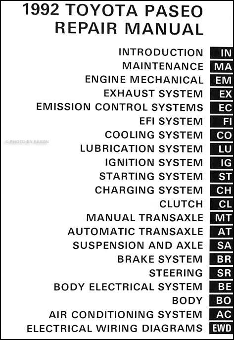 1992ToyotaPaseoORM TOC 1992 toyota paseo repair shop manual original wiring diagram baseboard heater at crackthecode.co