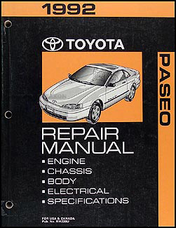 1992 Toyota Paseo Repair Manual Original
