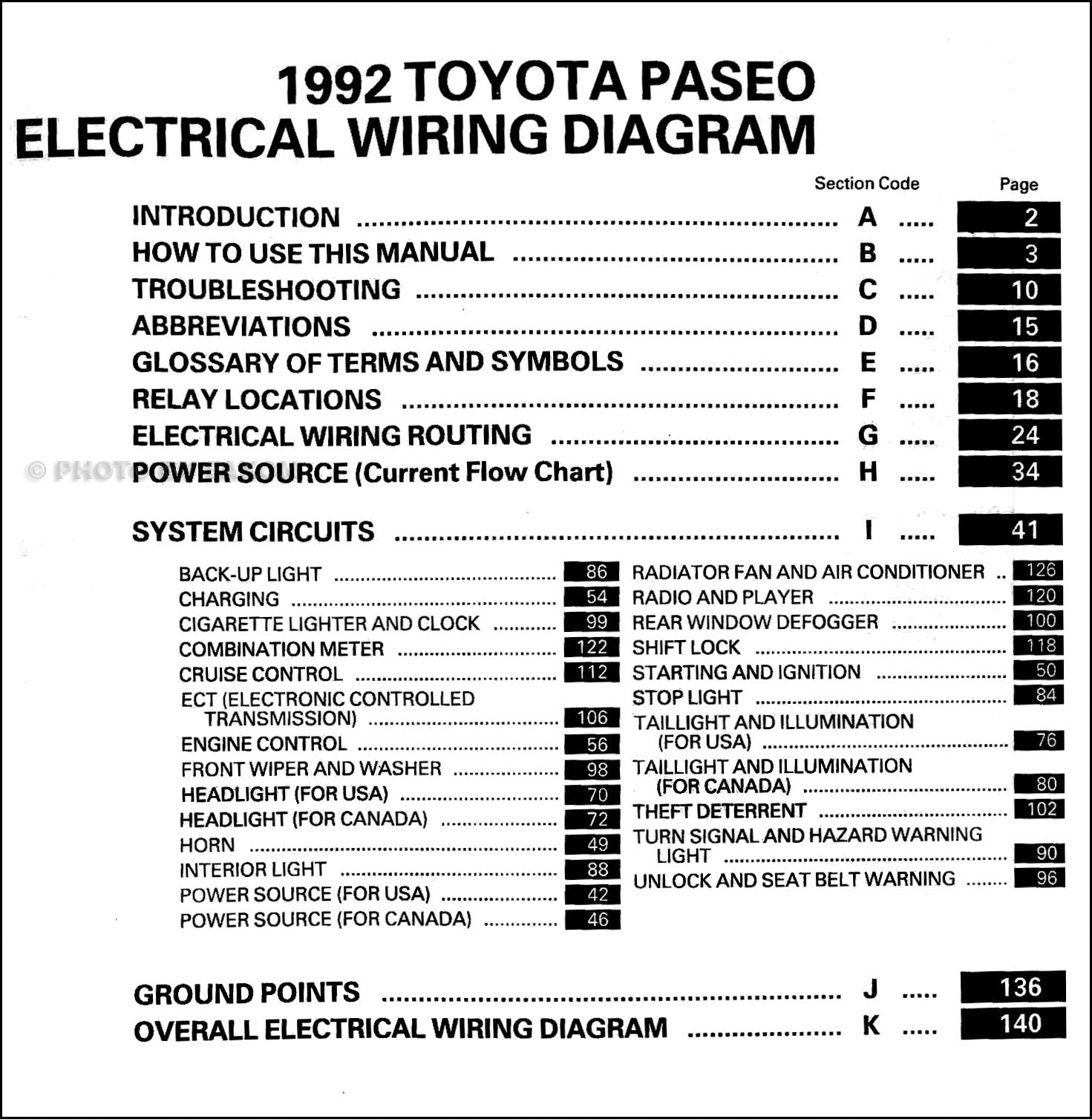 toyota rav4 wiring diagram 1992 toyota paseo wiring diagram manual original