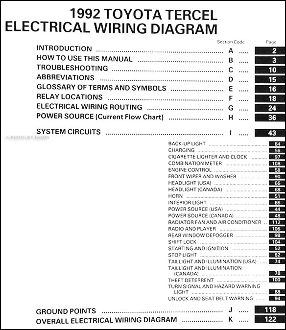 1992ToyotaTercelWD TOC 1992 toyota tercel wiring diagram manual original  at crackthecode.co