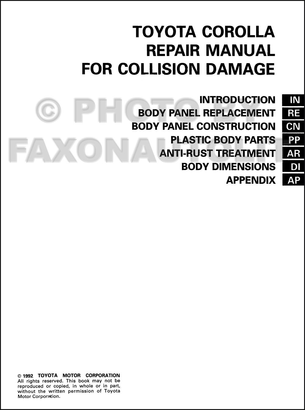 19931998 Toyota Corolla Body Collision Manual Original
