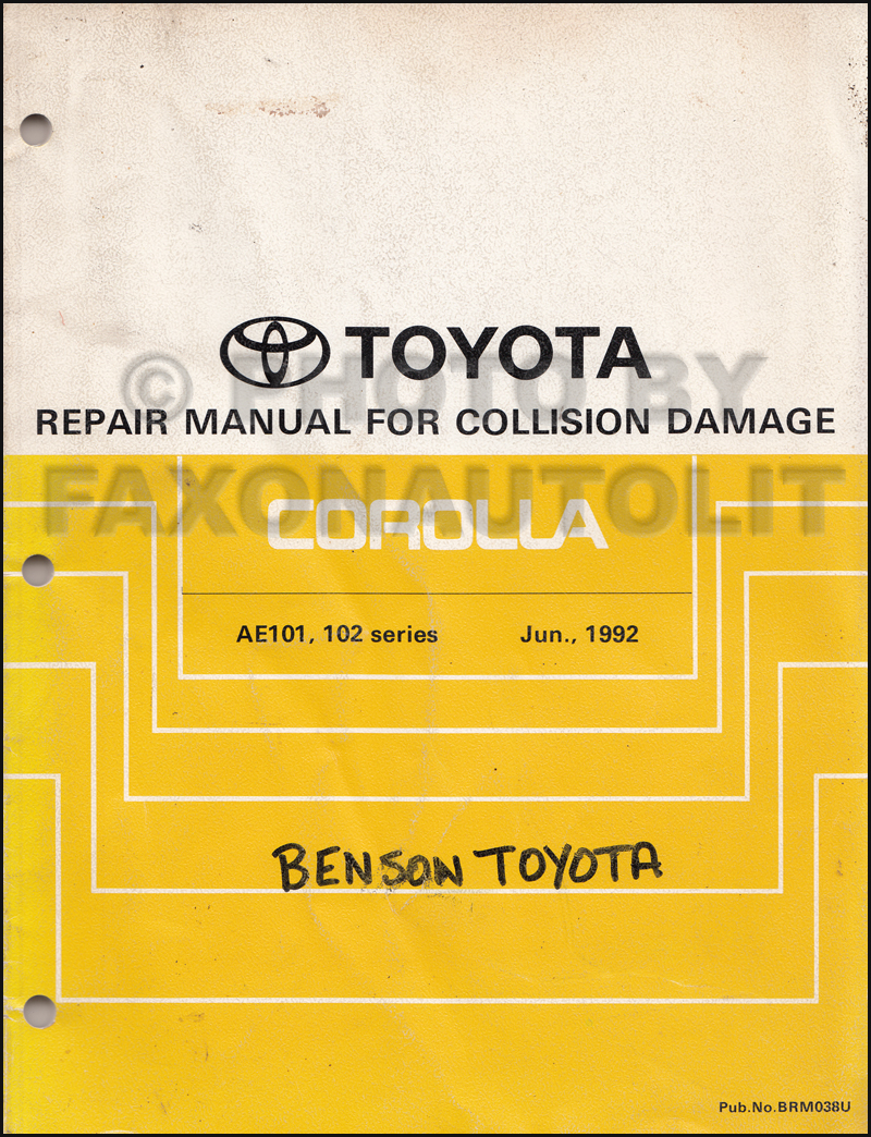Toyota Damage Diagram Wiring Third Level 1998 Avalon 1993 Corolla Body Collision Manual Original 22re Turbo Engine