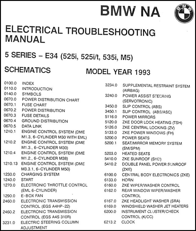 1993BMW525iETM TOC 1993 bmw 525i 525it 535i and m5 electrical troubleshooting manual bmw e34 535i wiring diagram at n-0.co