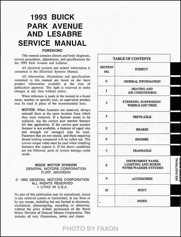 service manual auto repair manual free download 1993 buick park avenue navigation system