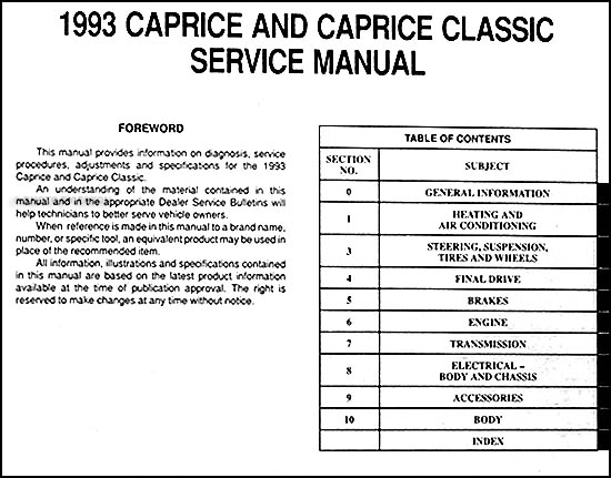 1993 chevy caprice classic repair manual free owners manual u2022 rh wordworksbysea com Chevy Impala Pontiac Bonneville
