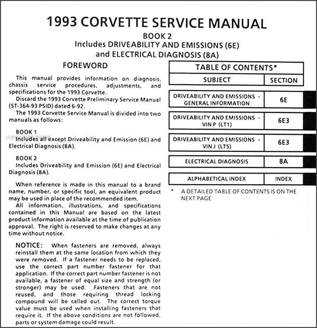 1993 Corvette Repair Shop Manual Original 2 Book Set