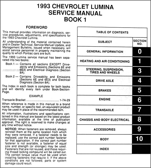 1993 Chevy Lumina Car Repair Shop Manual Original 2 Volume Set