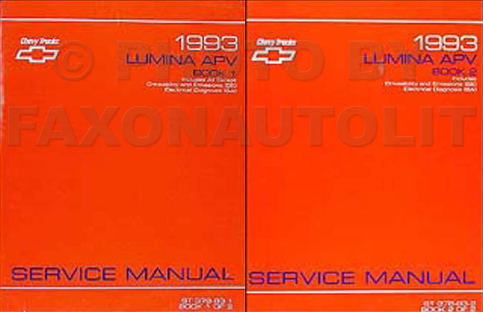 1993 Chevy Lumina APV Minivan Repair Manual Original 2 Vol Set