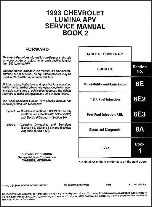1993 chevy lumina apv minivan repair shop manual original 2 vol set rh faxonautoliterature com 1997 chevy lumina repair manual free chevrolet lumina repair manual