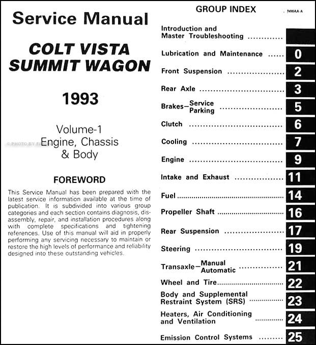 1993 colt vista summit wagon repair shop manual original 2 volume set rh faxonautoliterature com Ford Stereo Wiring Harness Diagram Car Stereo Color Wiring Diagram