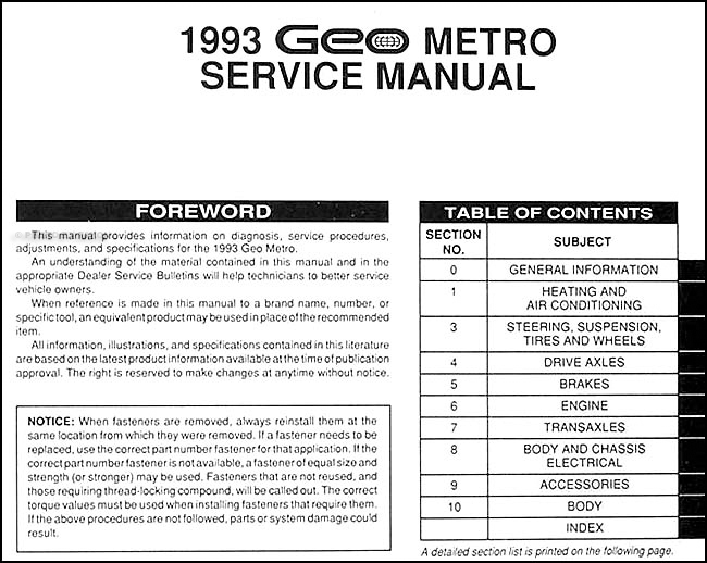 1993GeoMetroORM TOC 1993 geo metro repair shop manual original geo metro wiring diagram at bakdesigns.co