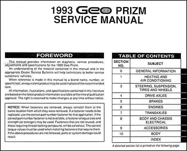 1993 Geo Prizm Fuse Box Manual