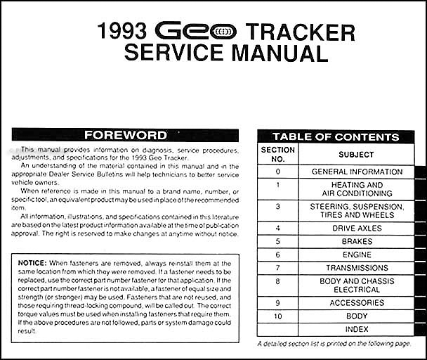 1993 geo tracker repair shop manual original rh faxonautoliterature com 1992 geo tracker manual transmission diagram 1992 geo tracker manual trans shifter repair