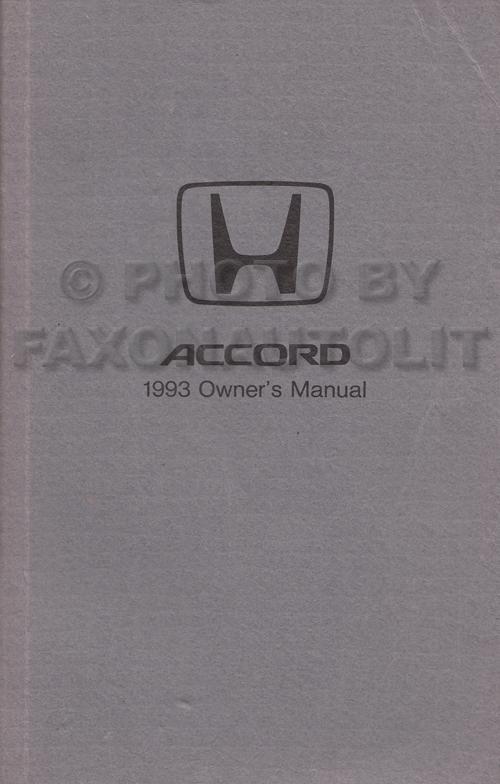 1993 Honda Accord Coupe Owner's Manual Original 2 Door