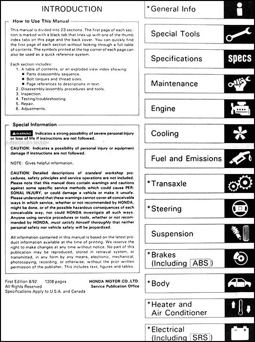 1993 honda accord repair shop manual original rh faxonautoliterature com 1990 Honda Accord LX 1993 Honda Accord LX Sedan